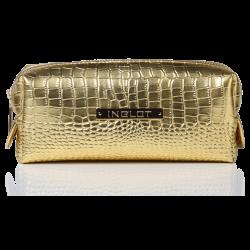 Trousse per cosmetici con fantasia in pelle di coccodrillo oro piccola (R24393)