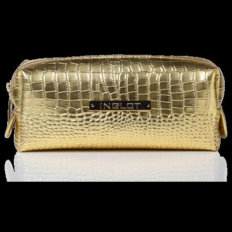 Trousse per cosmetici con fantasia in pelle di coccodrillo oro piccola (R24393) icon