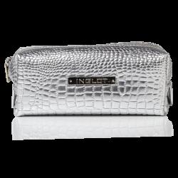 Trousse per cosmetici con fantasia in pelle di coccodrillo argento piccola (R24393)