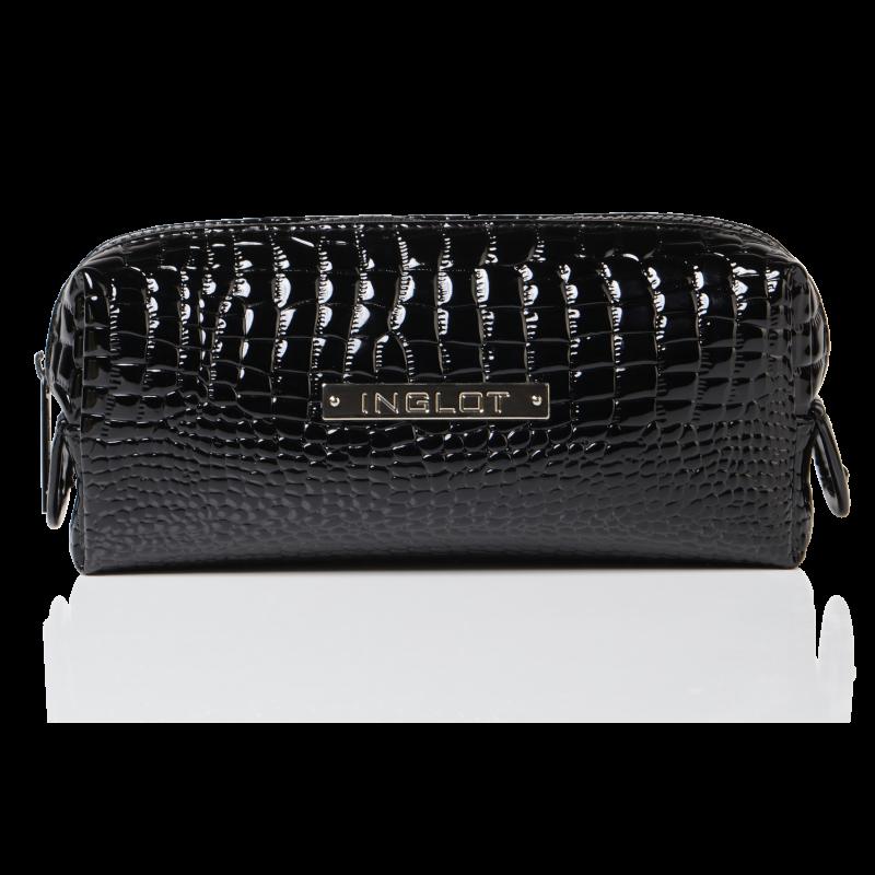 Trousse per cosmetici con fantasia in pelle di coccodrillo nero piccola (R24393)